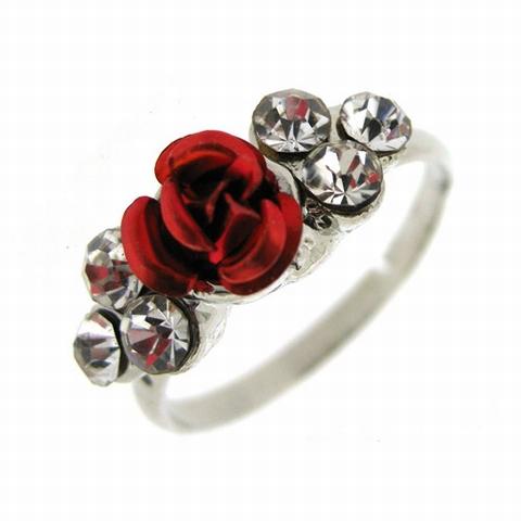 Sierlijke ring met roosje rood