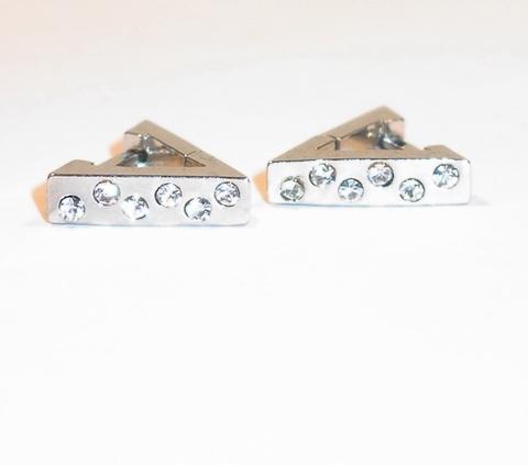 Oorbellen edelstaal rvs driehoek met strass steentjes