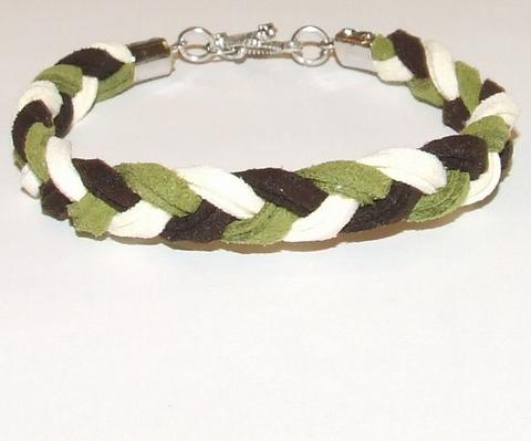 Veterarmband suede multi colour bruin/groen/creme