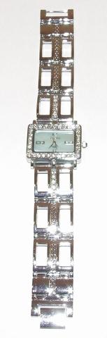 Horloge rechthoekige blauwe wijzerplaat met strass steentjes
