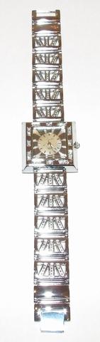 Horloge vierkante beige wijzerplaat met strass steentjes