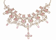 Collier roze 0123 | Luxe collier met roze strass steentjes