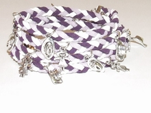 Wikkel armband met bedels lila/wit/paars