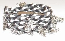 Wikkel armband met bedels zwart/wit/grijs
