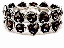 Armband zwart/grijs 04128 | Armband met strass zwart/grijs