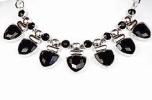 Collier zwart 03126 | Apart collier met zwarte strass