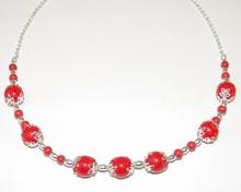 Ketting rood 1003 | Rode ketting met glaskralen
