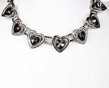 Collier harten 8868 | Collier strass harten zwart/grijs