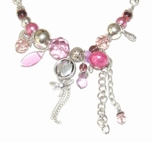 Ketting paars/roze 89321 | Ketting kralen bedels paars/roze