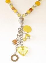 Ketting geel 1149 | Lange gele ketting met glaskralen