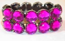 Armband met strass stenen paars/roze