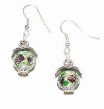 Oorbellen groen 00880 | Oorbellen met kristal rondel