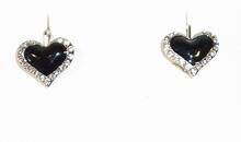 Oorbellen hartjes 8879 | Oorbellen zwarte hartjes met strass