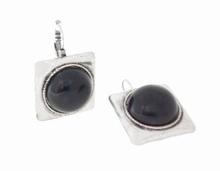 Oorbellen zwart 33338 | Oorbellen vierkant met zwarte steen