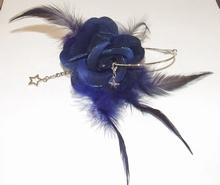Oorbel bloem 04 | Bloemoorbel met bedels donkerblauw GTST