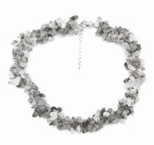 Ketting 44003 | Ketting natuursteentjes zwart/grijs