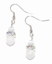 Oorbellen wit 78102 | Witte oorbellen edelstenen/rondellen