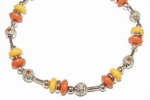 Ketting oranje/geel 20550 | Ketting met strass oranje/geel