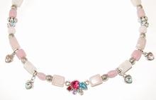 Ketting Rozenkwarts | Ketting edelsteen/glas/metaal roze