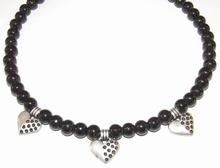 Ketting zwart 00441 | Zwarte ketting glaskralen/metaal