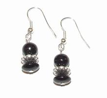 Oorbellen zwart 89650 | Oorbellen met zwarte glaskralen