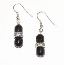 Oorbellen zwart 54330 | Oorbellen zwarte glaskralen