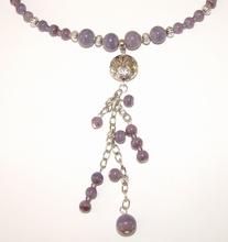 Ketting paars 95140 | Ketting glaskralen/metalenkralen paars