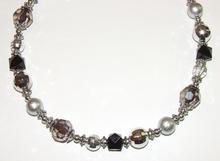 Ketting zwart/grijs 52600 | Ketting zwarte en grijze kralen