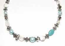 Ketting blauw 16350 | Trendy ketting met kralen