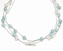 Ketting parels 16404 | Ketting parels blauw tinten