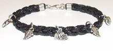 Armband veter zwart 15504   Zwarte veterarmband met bedels