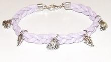 Armband lila veter 15516 | Veterarmband met bedels lila