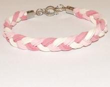 Veterarmband suede multi colour roze