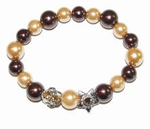 Armband bruin 36191 | Bruine parel armband met strass