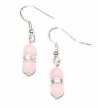 Oorbellen roze 1380 | Oorbellen roze halfedelstenen/strass
