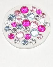 Munt voor munthouder met roze, blauwe en heldere strass