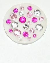 Munt voor munthouder met heldere en roze strass