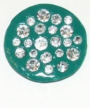 Munt voor munthouder groen met heldere strass