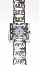Horloge vierkante lila wijzerplaat met strass steentjes