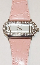 Horloge kast met strass en echt lederen band roze