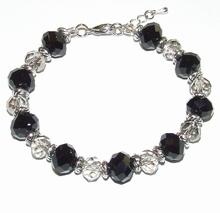 Armband zwart grijs 20 | Armband kristal facet geslepen